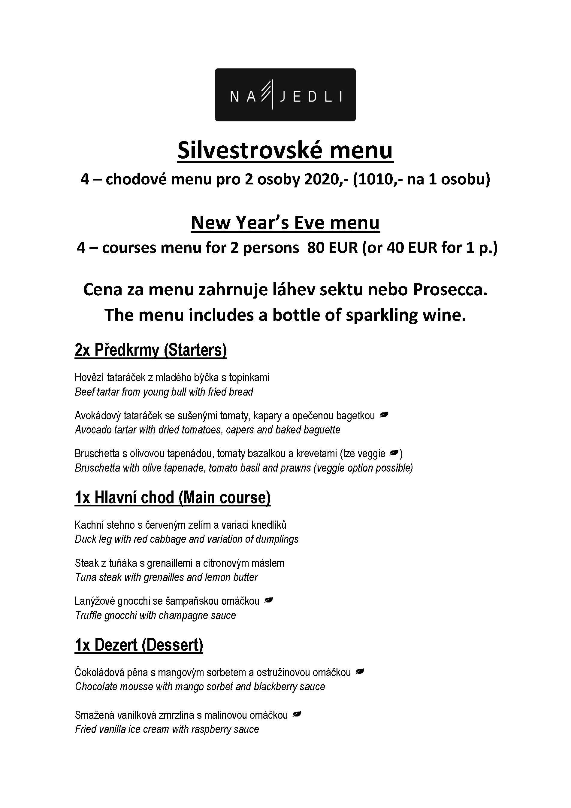 Silvestrovské menu2019